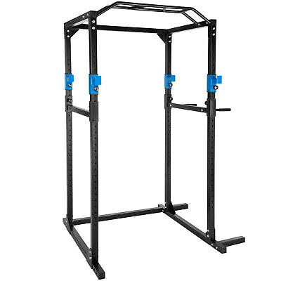 Station de musculation cage musculation dips fitness gym traction bleu noir