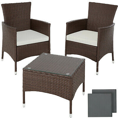 Acier Ensemble de Jardin Poly Rotin Meuble Terrasse Table Chaise mixed-marron