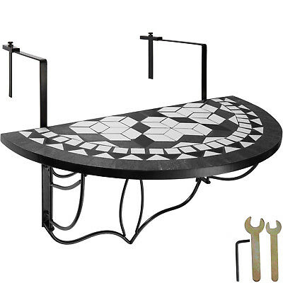 Table de balcon mosaïque pliante Rabattable Table suspendue Murale Noir-Blanc