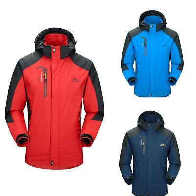Men's Waterproof Hoodie Outdoor Sport Coat Jacket Soft Winter Warm Ski Rain Coat