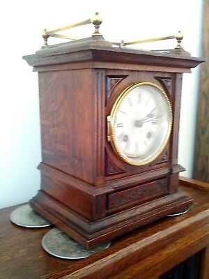 Antique Edwardian  Bracket Clock In Dark Oak In Excellent Condition.
