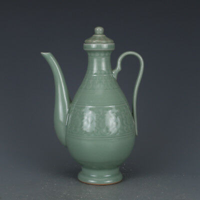 "10"" China old antique Porcelain Song Longquan Kiln Plum green glaze Wine Pot"
