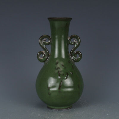 "8"" China old antique Porcelain Song Guan Kiln Green Glaze Double ears Vase"