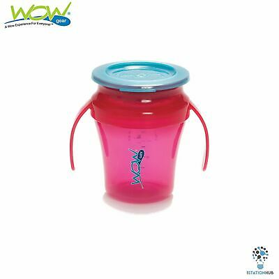 JUICY! WOW Gear Baby Translucent Spill Free Training Cups| 9+ Months | Pink/Blue
