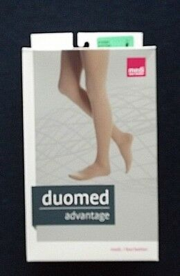 MEDI DUOMED Black Compression Stockings Thigh High Open Toe 20-30mmHg Sz M