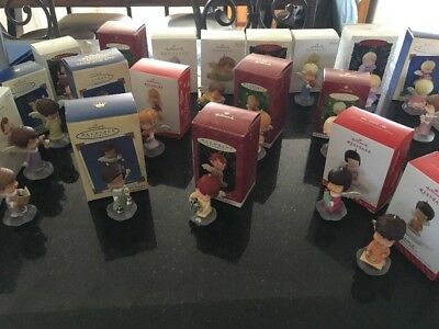 VTG HALLMARK MARY'S ANGELS SERIES XMAS ORNAMENT LOT OF 22 EXC COND w/boxes