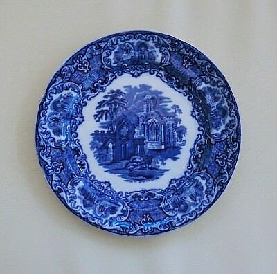 "George Jones & Sons (1790) Abbey Scene Blue & White Plate 9 3/8"" dia. 1901/21"