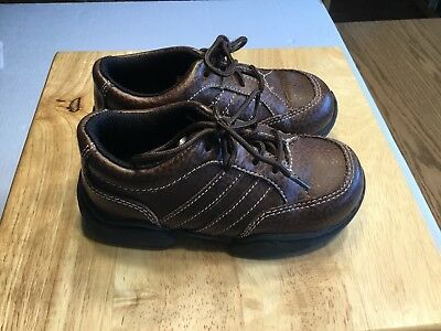 OSH KOSH Little Kid Boys Lace Leather Brown Casual Dress Shoes Size 10M