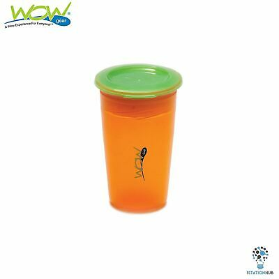 JUICY! WOW Cup for Kids Translucent Spill Free Tumblers |12+ Mth | Orange/Green