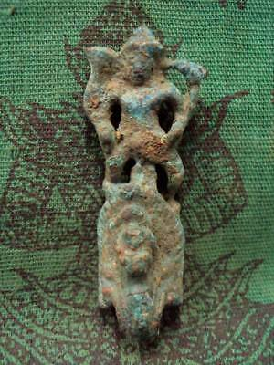 Ancient God Khmer Vishnu Riding Naga Figure Antique Spiritual Thai Amulet rare
