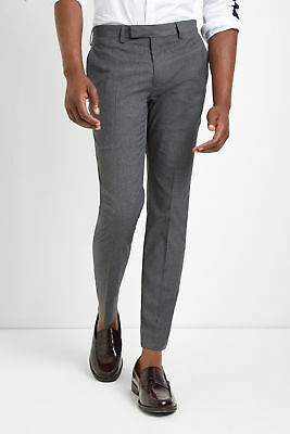 Moss London Mens Trousers Skinny Fit Mid Grey Formal Pants with Stretch