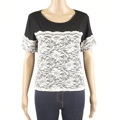 Wholesale Job Lot of 7 Ex Chainstore Black T-Shirt Top with White Lace Womens