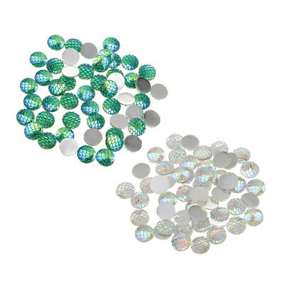 100pcs 12mm Round Resin Cabochon Mermaid Fish Scale Design Multi Color Beads