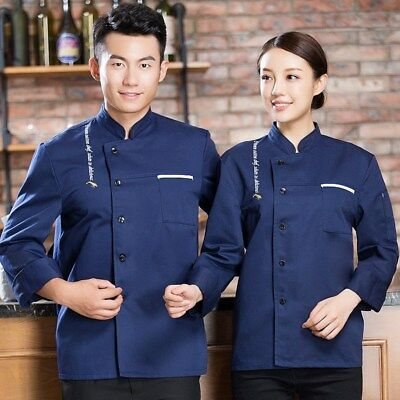 New Chef Coat Long Sleeve Hotel Kitchen Cooking Jacket Cosy Restaurant Uniform