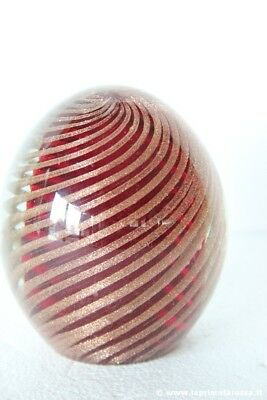 FERMACARTE ANNI 70  IN VETRO H 9 cm -VINTAGE MURANO EGG GLASS PAPER WEIGHT
