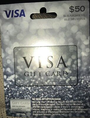 $50 NONRELOADABLE VISA Card  Activated  No fees, Free Priority Shipping!
