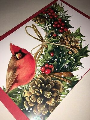 Marjolein Bastin Hallmark Nature's Sketchbook Christmas Cardinal Bird Unused