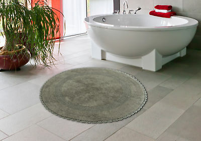 Bath Rug Cotton 36 Inch Round Reversible Gray Crochet Lace Border