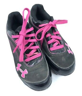 Under Armour Girls Baseball Softball Cleats Shoes Pink Black Size 12K