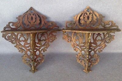 Pair of antique swiss black forest shelves early 1900s made of wood
