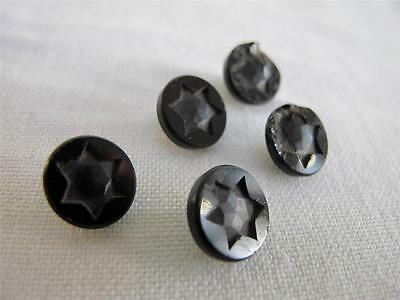 SET of FIVE ANTIQUE VICTORIAN BLACK FRENCH JET GLASS BUTTONS - STAR DESIGN