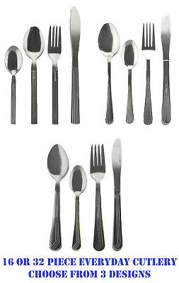 16/32 Piece Stainless Steel Cutlery Sets Tableware Dining Kitchen Fork Spoons