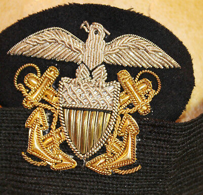 Vintage Wwii Us Navy Officer's Dress Hat Band Bullion Eagle Insignia   4543