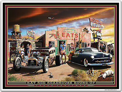 Hot Rod Art Print by Larry Grossman RAT ROD ROADHOUSE