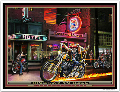 Motorcycle Biker Chopper Harley Davidson Art Print by Larry Grossman HWY TO HELL