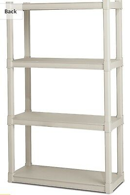 Sterilite Shelving 1 Unit w 4 Shelves INDOOR OUTDOOR Heavy Plastic Platinum Tall