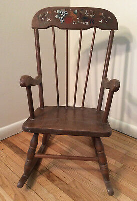Vintage children's rocking chair, kids, dolls, fruit & partridge design
