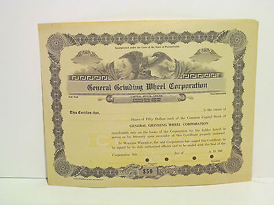 General Grinding Wheel Company Stock Certificate Blank