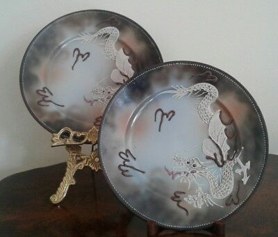 PAIR OF VINTAGE ANTIQUE CHINA HAND PAINTED JAPANESE DRAGON PLATES BY RS no2
