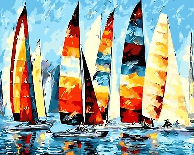 """SAILING BOATS ABSTRACT PAINT BY NUMBERS CANVAS PAINTING KIT 20"""" x 16"""" FRAMELESS"""