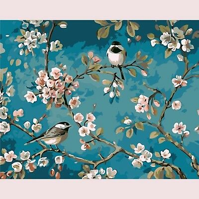 FLOWER BLOSSOM BIRDS PAINT BY NUMBERS CANVAS PAINTING KIT 20 x 16 ins FRAMELESS