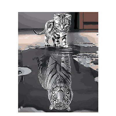 TIGER KITTEN CAT PAINT BY NUMBERS CANVAS PAINTING KIT 20 x 16 ins FRAMELESS