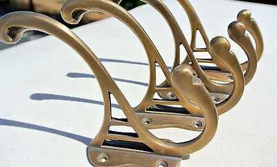 "4 COAT HOOKS door solid brass furniture antiques vintage age old style 4 "" DECO"