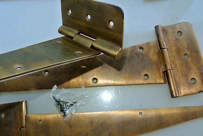 4 large hinges screws old aged style cast solid Brass DOOR BOX heavy 26cm long
