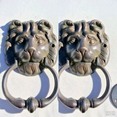2 LION head old heavy front Door Knocker SOLID BRASS vintage old style house B