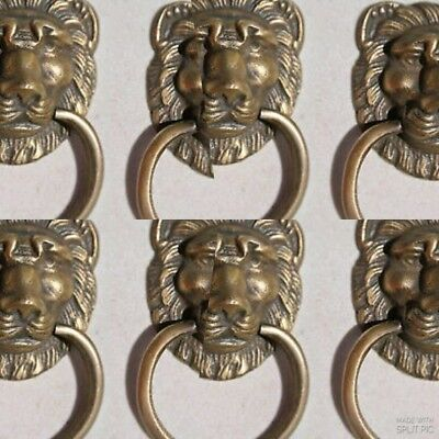 "8 LION PULLS handles Small heavy SOLID BRASS old style screws house antiques 2""B"