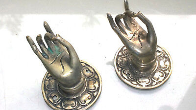 "2 used silver used handle hand brass door old style knob hook 2.1/4 ""buddha"