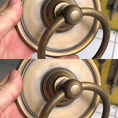 2 large handle ring pull spun solid brass heavy old aged style DOOR 13.5cm boltB