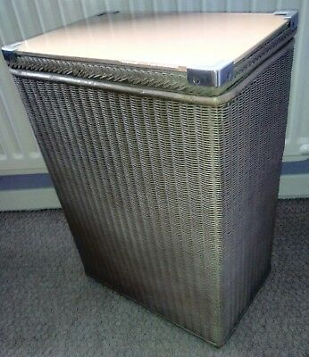 *LLOYD LOOM* Vintage/Retro/Rustic/Antique Glass Top Laundry Hamper/Linen Basket