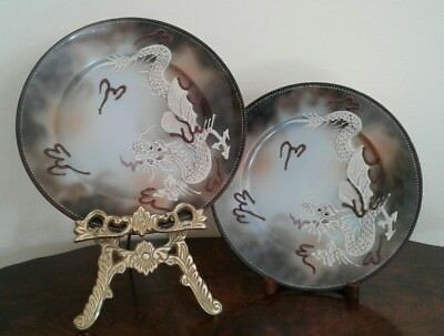PAIR OF VINTAGE ANTIQUE CHINA HAND PAINTED JAPANESE DRAGON PLATES BY RS no1