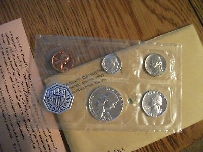 1963- P US 5 Coin Silver Mint Proof Set Original Envelope FREE SHIPPING