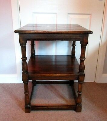 Top quality TUDOR OAK Reproduction two tier Side or Lamp table. Milton Keynes
