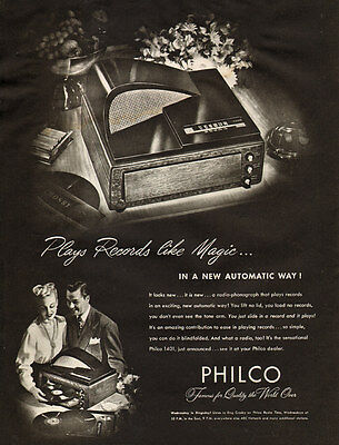 1948 vintage Ad PHILCO 1401 Slide IN  Record Player New automatic design! 030917