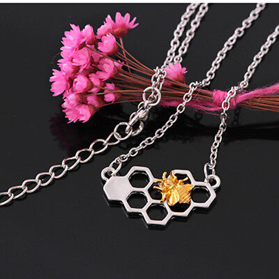 Stylish Delicate Heart Necklace Honeycomb Bee Animal Jewelry Chain Gifts N7