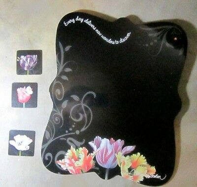 Natures Journey Marjolein Bastin  Floral Black Memo Board w Magnets TULIPS