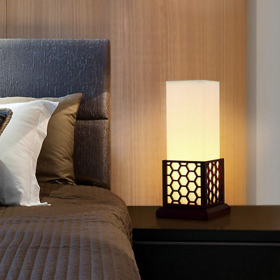 Minimalist Side Table Desk Lamp, Modern Asian Style Bedside with Solid Wood Fram